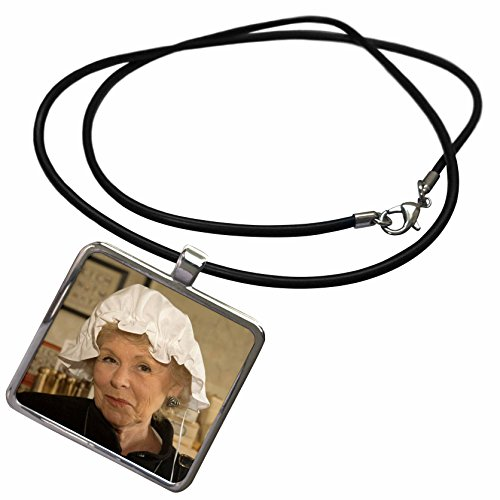 3dRose Danita Delimont - Virginia - Woman in hair bonnet, Williamsburg, Virginia - US47 JME0103 - John and Lisa Merrill - Necklace With Rectangle Pendant (Colonial Costume Williamsburg)