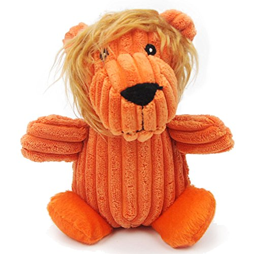 IKING Corduroy Lion Squeaky Pet Toy,Plush Animal Dog Toys,Orange