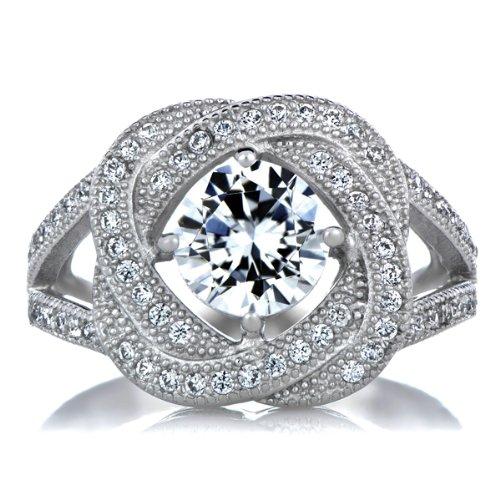 Celebrity Star Emitations Gabriella's Petite Wedding Ring Set - Sterling Silver Size 5