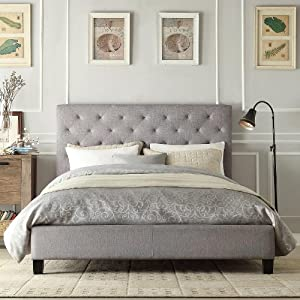 Best Headboard Endearing With Grey Tufted Platform Bed Photos