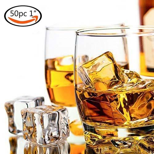 Goodlucky365 50 pièces 2.5cm Glacons en Pierre Pour Whisky Réutilisables Cube, Perles Cubes de Glace en Plastique Acrylique