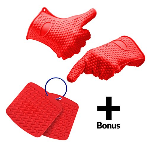 Silicone Heat Resistant Cooking, Oven Gloves for BBQ, Grilling, Baking, Potholder, + - Bonus - Hot Pads to Protect Countertops and Tables (Countertop Table Sets compare prices)