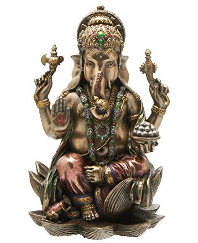 CraftVatika Ganesh (Ganesha), elefante indù Dio del Successo Statua in vero bronzo fuso in polvere, 18,4 cm