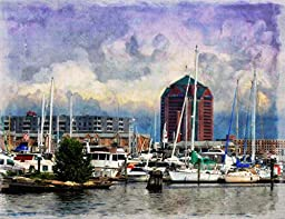 Original Baltimore Art Print- Stormy Weather at Fells Point Dock