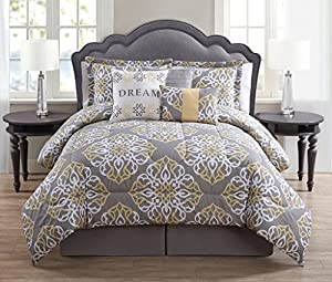 7 Piece Queen Dream Gray/Yellow Print Comforter Set