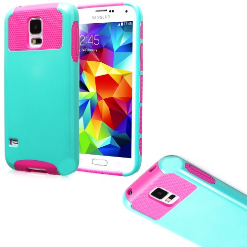 Mylife (Tm) Cyan Blue And Hot Pink - Free Flex Series (2 Layer Neo Hybrid) Slim Armor Case For The New Galaxy S5 (5G) Smartphone By Samsung (External Rubberized Hard Shell Flex Piece + Internal Soft Silicone Flexible Bumper Gel)