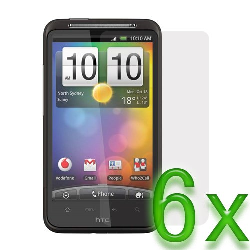 Birugear 6 X Clear Lcd Screen Protector Film Guard For Htc Inspire 4G / Desire Hd