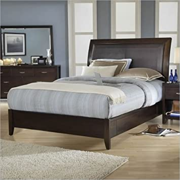 Modus Furniture 2O26L6 Urban Loft Low Profile Sleigh Bed with Synthetic Leather Headboard Panel, California King, Chocolate Brown