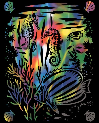 Kratzbild Scraper Seepferdchen - Unterwasserwelt Regenbogen + 1 Blanko Bogen Größe 20 cm x 25 cm hier kaufen