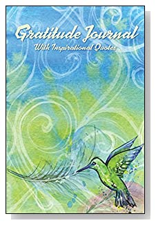 Gratitude Journal With Inspirational Quotes - For the hummingbird lovers!! A hummingbird on a blue and green swirled background makes an attractive cover for this 5-minute gratitude journal for busy people.
