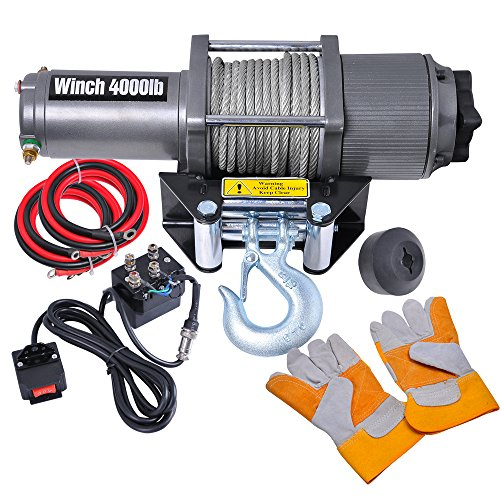 4000 Lb Electric Recovery Winch W/ Line Stopper Gloves Atv Trailer Truck 12V 1.2