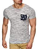 INDICODE Herren T-Shirt Blaine meliert mit Brusttasche Grau Grün Blau