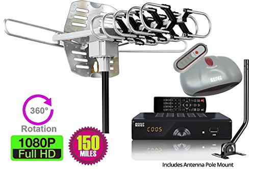 BoostWaves® All in ONE Antenna & Digital Converter Box DVR Combo, 1080P HDTV, HDMI Output, 7 Day Program Guide, Recording & Playback, Parental Controls, Why Pay for Cable or Dish?