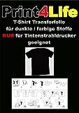 10Bl. T-Shirt Transferpapier für Dunkle Stoffe.Eine spezielle Transferfolie zum Bedrucken