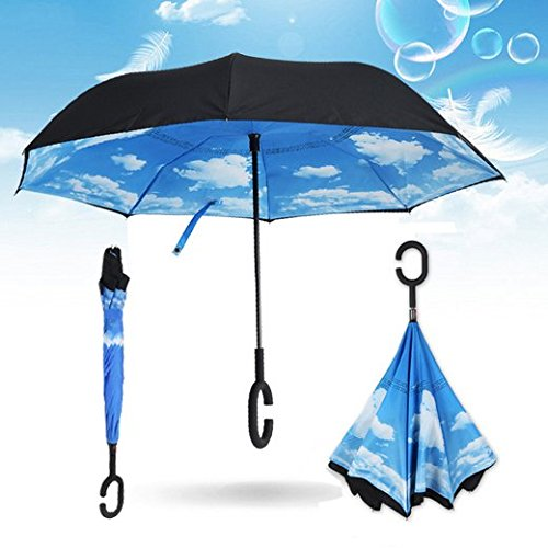 NEWBRELLAs Creative Inside Out Drip-free Inverted Umbrella for Car Use with C-shaped Rubber Hands Free Handle and Perfect Day Sky Print - Lifetime Guarantee