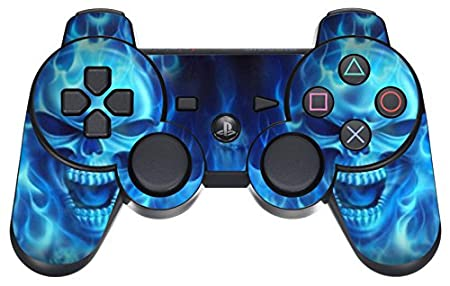 GameXcel ® Sony PS3 Leather Texture Controller Skin - Custom Playstation 3 Remote Vinyl Sticker - Play Station 3 Joystick Decal - Blue Deamon
