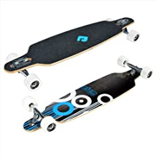 Atom 36-Inch Drop-Through Longboard, Black/White/Blue