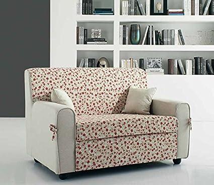 Divano mini divanetto in tessuto fiorato (Beige/Marrone)