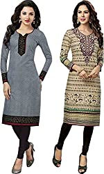 SDM Women's Kurti Printed Cotton Dress Material Unstitched Combo of 2 (P110-126, Unstitched)