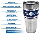 IceCube Tumbler - 30 Oz Premium Stainless Steel Double Wall Vacuum Insulated Travel Cup With Clear Lid and Curved Straw - Thermal Coffee Mug & Lifetime Warranty By RISE Products
