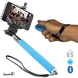 Zonabel Selfie Stick - Best Handheld Monopod with Bluetooth Remote - Perfect Selfies with Any iPhone & Android - Blue