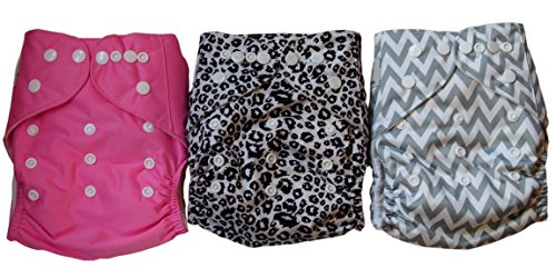 Naughty Baby Washable Adjustable Cloth Pocket Diapers with Inserts Girl Variety Pack - 1