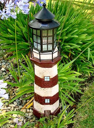 Decorative Garden Solar Powered Large Lighthouse Fiberglass Solar Light (RED/IVORY)