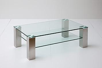 Couchtisch, Beistelltisch, Wohnzimmertisch, Glas + Ablage, rechteckig, L= 110 cm