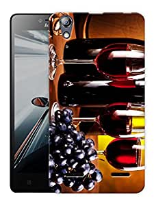"Humor Gang Wine Glasses And Grapes Printed Designer Mobile Back Cover For ""Lenovo A6000 - A6000 PLUS"" (3D, Matte, Premium Quality Snap On Case)"