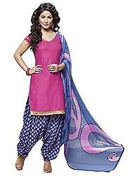 Manvaa Dark Pink Glaze Cotton Embroidered Patiyala Dress Material