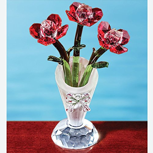 Bits and Pieces - Enjoy the Roses Crystal Figurine- Decorative Hand Crafted Crystal Collectible Figurines stands 5 inches