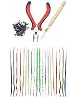 Kit Salon de Coiffure Qualité Professionnelle avec Extensions Plumes 40 cm de Long de Différentes Couleurs et Outils d'Applications à Mèches de Cheveux Comprenant 100 Anneaux, Pinces et Crochet Poignée en Bois par VAGA©