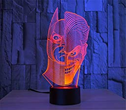 LOTOS® Two-Face Man Joker and Batman 3D Abstract Visual 7 Kinds of Colors Change Touch Keys USB Desk Lamp