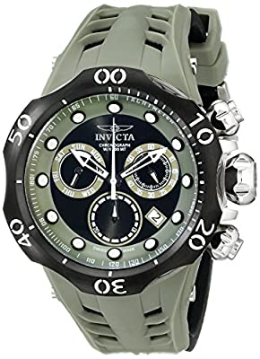 "Invicta Men's 16990SYB ""Venom"" Stainless Steel Watch with Green Silicone Band"