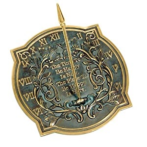Rome 2303 Happiness Sundial, Solid Brass with Verdigris Highlights, 10-Inch Diameter (Discontinued by Manufacturer)