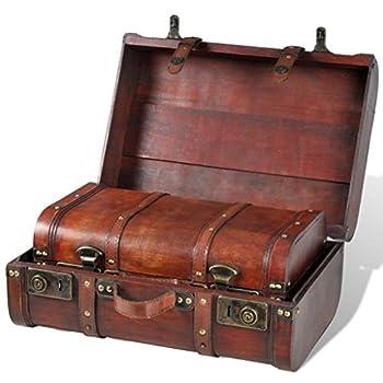 Festnight Vintage Wooden Treasure Chest Brown 2 PCS