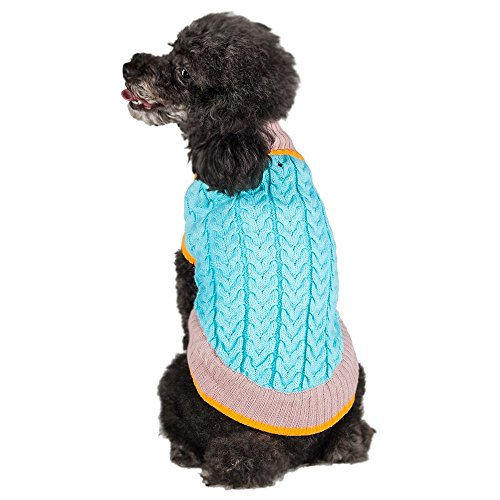 """Blueberry Pet 8"""" Back Length The Timeless Classic Cable Knit Turtle Neck Dog Sweaters For Puppy , X-Small Sweaters Clothes For Dogs front-52324"""