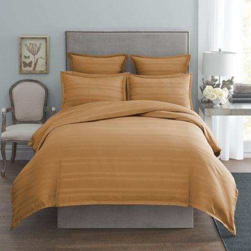 Modern Living 1C92104 Arezzo Stripe Duvet Cover, King, Soft Gold front-530588