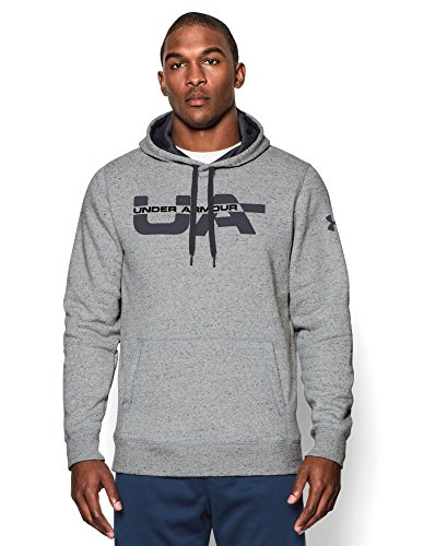 Under Armour Mens UA Cotton Rival Fleece Graphic Hoodie Pullover Gray Size XXL