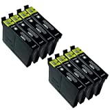 8 X T1281 BLACK Epson Compatible Ink Cartridges *** for Epson S22 - ALSO COMPATIBLE WITH Epson Stylus Office BX305F, BX305FW, BX305FW Plus, Epson Stylus S22, SX125, SX130, SX235W, SX420W, SX425W, SX435W, SX445W Printers - Latest Version Double Capacity I
