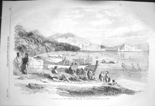 old-original-antique-victorian-print-1856-view-lazzaroni-shore-bay-naples-italy-beach-boats-447p129