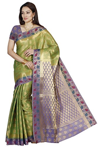Mimosa Women's Traditional Art Silk Saree Kanjivaram Style With Blouse Color:Paroot Green(3298-208-PGRN-RBLUE )  available at amazon for Rs.1899