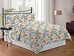 Bombay Dyeing Cynthia Polycotton Double Bedsheet with 2 Pillow Covers - Orange