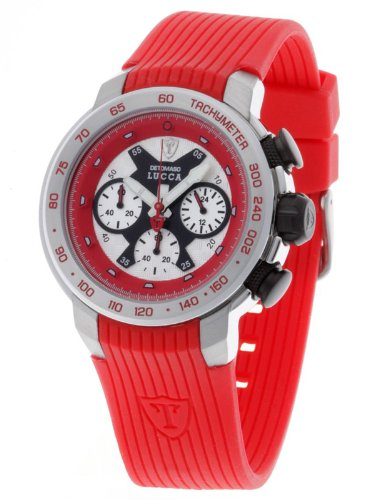 DeTomaso Men's Quartz Watch with Multicolour Dial Analogue Display and Red Silicone Strap DT1017-D
