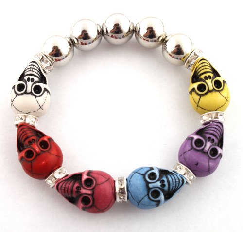 Unisex Half Metal Bead & Multicolors Two Faced Skull with Iced Out Rondelle Loops Stretch Bracelet