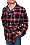 Polo Ralph Lauren Mens Admiral Wool Belted Pea Coat Jacket Red Navy Plaid Large