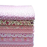 KINGSO 8PCS Cotton Fabric Bundles Quilting Sewing Patchwork Cloths DIY Craft 19.7x19.7inch Pink Series