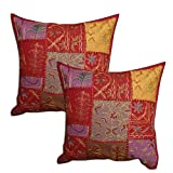 Indian Pillow Case Set of 2 Cotton Cushion Covers Handmade Golden Thread Embroidered 41 x 41 cmsby DakshCraft
