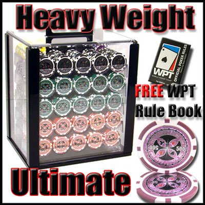 1000 Ultimate Acrylic Poker Chip Set with Free WPT Rule Book. 14 Gram Heavy Weighted Poker Chips.