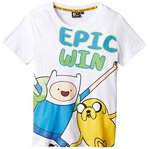 Adventure Time - T-Shirt, Bambino, Bianco, 8 (6-8 anni)